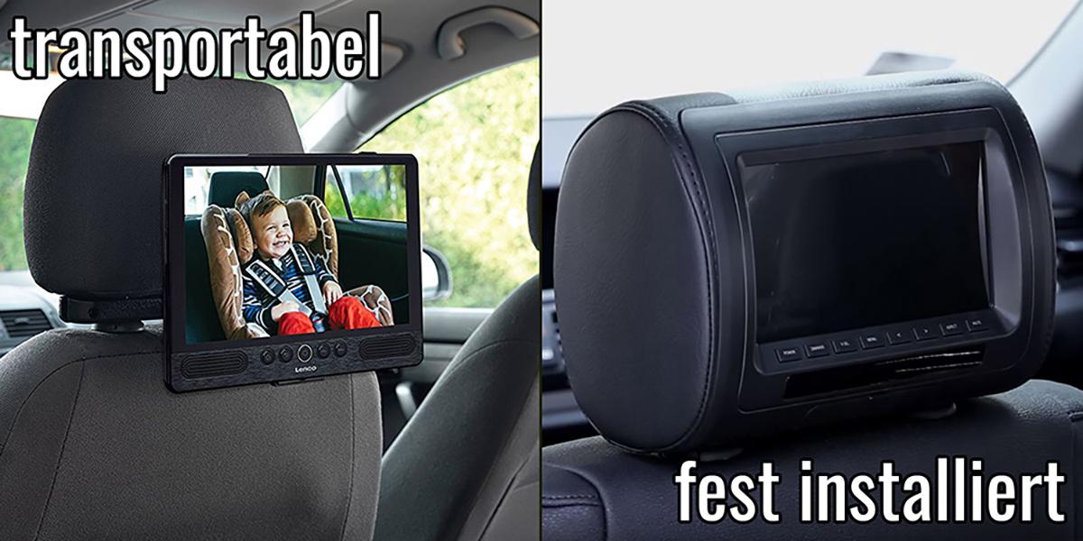 Vergleich transportabler und fest installierter DV Player fürs Auto